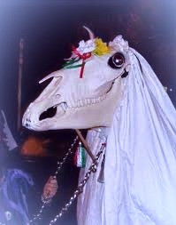 If you're in Wales on New Year's Eve, beware!  The Mari Lwyd might show up at your door..