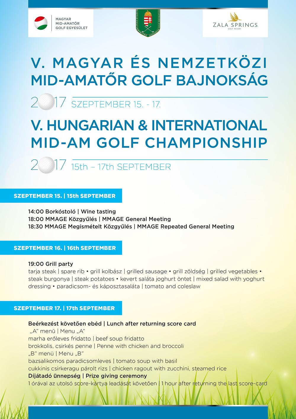 Mid-Amatőr Golfbajnokság napi programja
