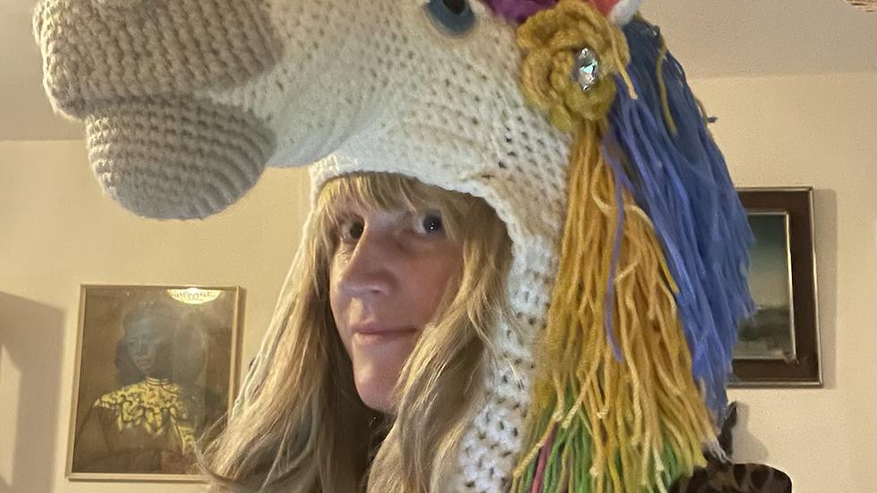 Handmade crochet unicorn festival hat.