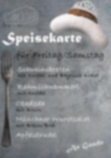 Weißwurschtprinzessin Speisekarte Freitag/Samstag