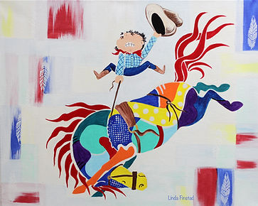 Prism-Equus painting of a cowboy riding a  bucking pony