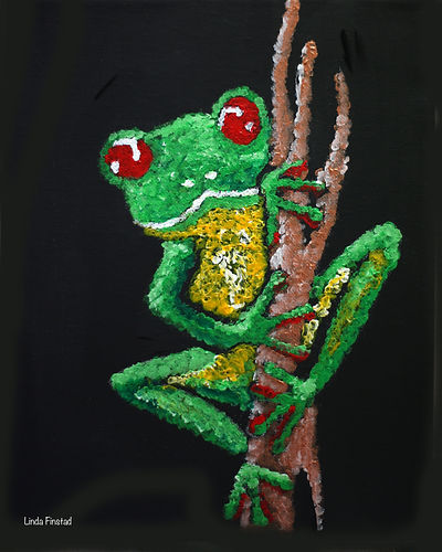 Pointilism painting of a tree frog