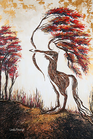 Tree painting depicting the Saggitarius sign of the zodiac