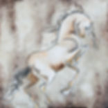 painting of a horse rearing by Linda Finstad