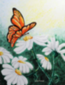 pointilism painting of a butterfly