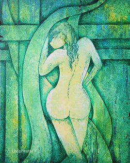 female nude abstract art, green
