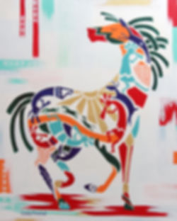 Prism-equus painting featuring Kokopelli