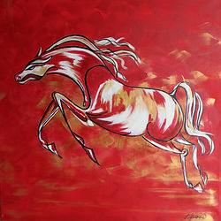 abstract painting of a red leaping horse by Linda Finstad