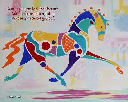Prism-Equus paintin of an abstract horse by Linda Finstad