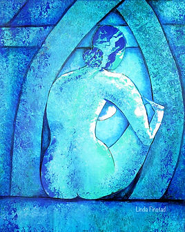 blue female form abstract painting