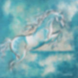 painting of a horse jumping by Linda Finstad