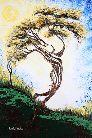 Tree painting depicting the Virgo sign of the zodiac