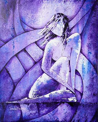 purple abstract nude female painting