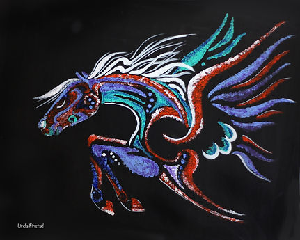 pointilism painting of a winged horse