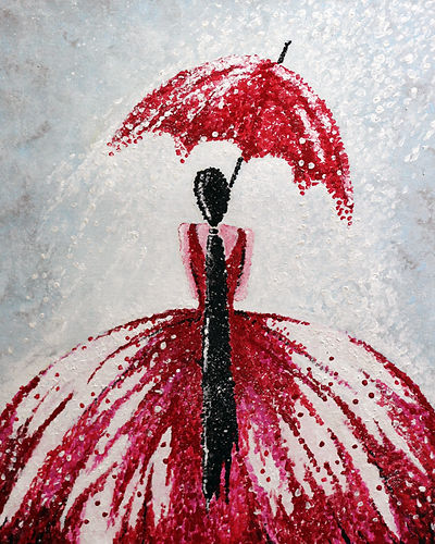pointilism painting of a dancer