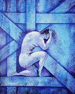 naked man kneeling, abstract art
