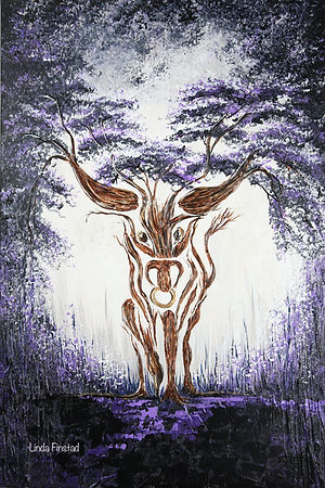Tree painting depicting the Taurus sign of the zodiac