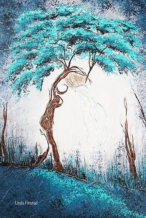 Tree painting depicting the Aquarius sign of the zodiac