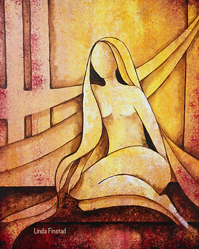 female nude sitting, abstract figurative painting