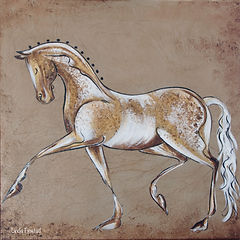 abstract painting of a dressage horse by Linda Finstad