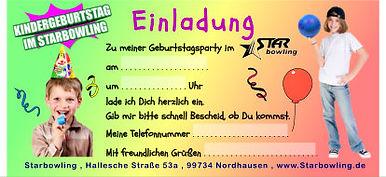 Einladung für Kindergeburtstag im Starbowling Nordhausen