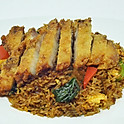 Shrimp Chili Paste Fried Rice with Crispy Pork Belly / ข้าวผัดพริกเผาหมูกรอบ
