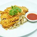 Stir-Fried Garlic Rice with Thai-Style Deep-Fried Chicken / ข้าวผัดกระเทียมไก่ทอด