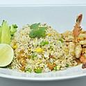 Stir-Fried Rice with Crispy Pork Bits & Garlic Shrimp / ข้าวผัดกากหมูกับกุ้งกระเทียม