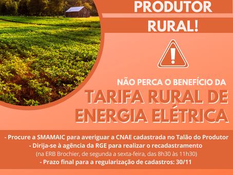 Atenção produtor rural: não perca o benefício do Programa Tarifa Rural de Energia Elétrica!