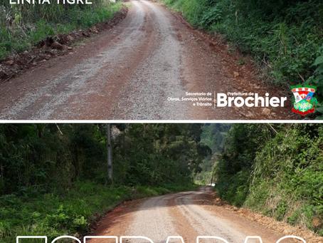 Estradas das localidades de Chapadão e Linha Tigre recebem manutenção e melhorias!