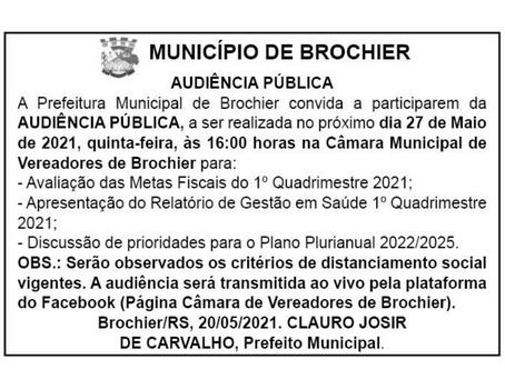 Prefeitura Municipal convida para Audiência Pública!