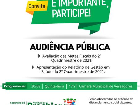 Prefeitura Municipal convida para Audiência Pública