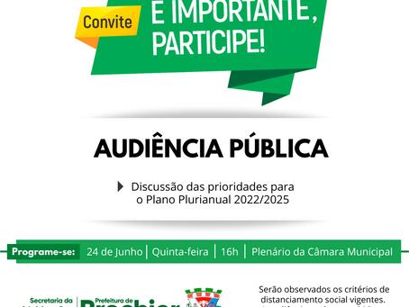 Prefeitura Municipal convida a participarem de Audiência Pública
