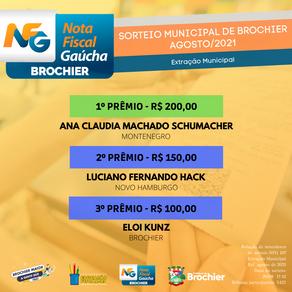 Parabéns aos ganhadores da Nota Fiscal Gaúcha (extração municipal) de agosto!