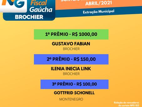 Parabéns aos ganhadores da Nota Fiscal Gaúcha (extração municipal) de abril!