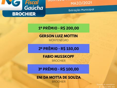 Parabéns aos ganhadores da Nota Fiscal Gaúcha (extração municipal) de maio!