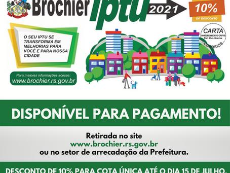 IPTU 2021 disponível para pagamento!