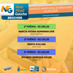Parabéns aos ganhadores da Nota Fiscal Gaúcha (extração municipal) de julho!