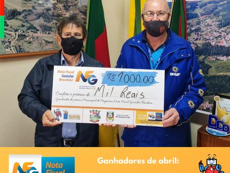 Entrega do prêmio principal da Nota Fiscal Gaúcha de abril, aniversário do município!