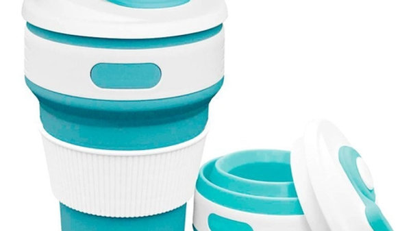 Copo Eco Retrátil Dobrável de Silicone 350 ml - Azul