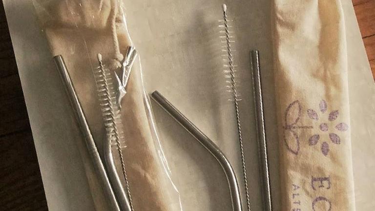 Kit de Canudos de Inox + Bag de Algodão