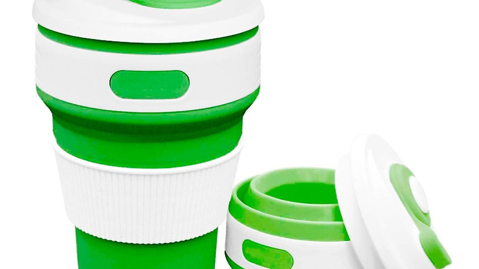 Copo Eco Retrátil Dobrável de Silicone 350 ml - Verde