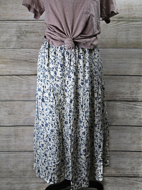 Cream and Blue Floral Skirt