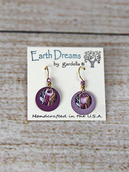 Hand Crafted Purple Tree Earrings