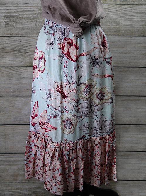 Light Blue &Pink Floral Skirt