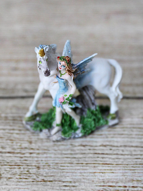 Miniature Standing Unicorn with Fairy Figurine