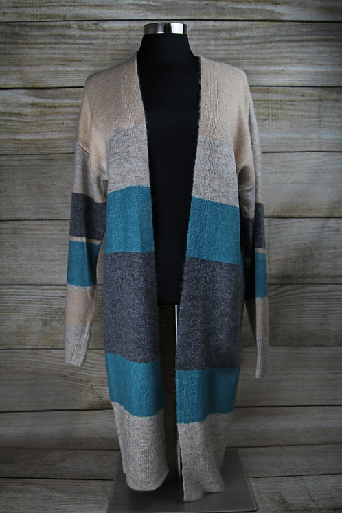 Beige and Teal Striped Cardigan