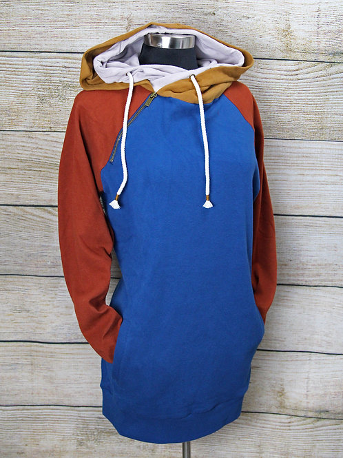 Rust and Blue Color-Block Hoodie