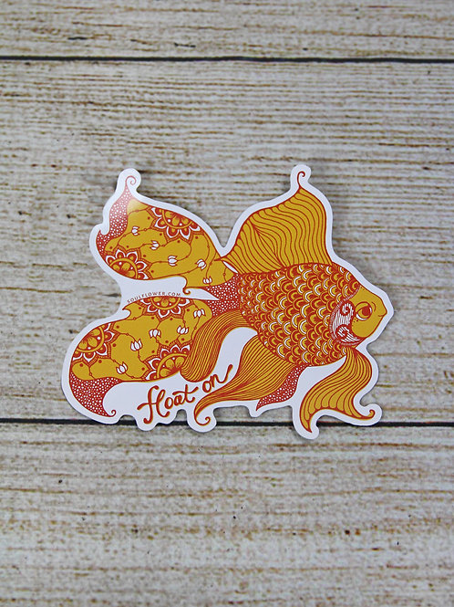 Float On Goldfish Vinyl Sticker
