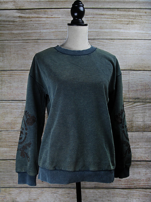 Green Embroidered Sweater